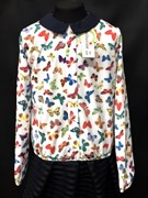 Catherine блузка дл.рук. с резинкой, бабочки цветные (р.128-158)