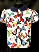 Catherine блузка короткий рукав, на резинке, бабочки цветные (р.128-158)