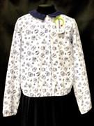 Catherine блузка длинный рукав с резинкой, совы, белая (р-ры128-158)