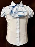 AGATKA блузка кор.рук. с пуговками, съёмное жабо, голубая (р.128-158) 6 шт.