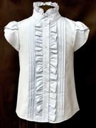 AGATKA блузка кор.рук. рюши, голубая (р.128-158) 6 шт.
